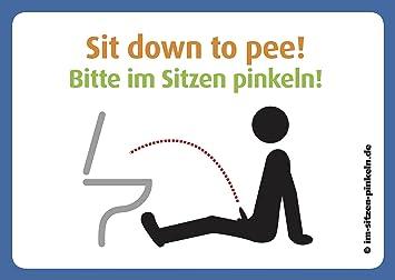 Sit down pee