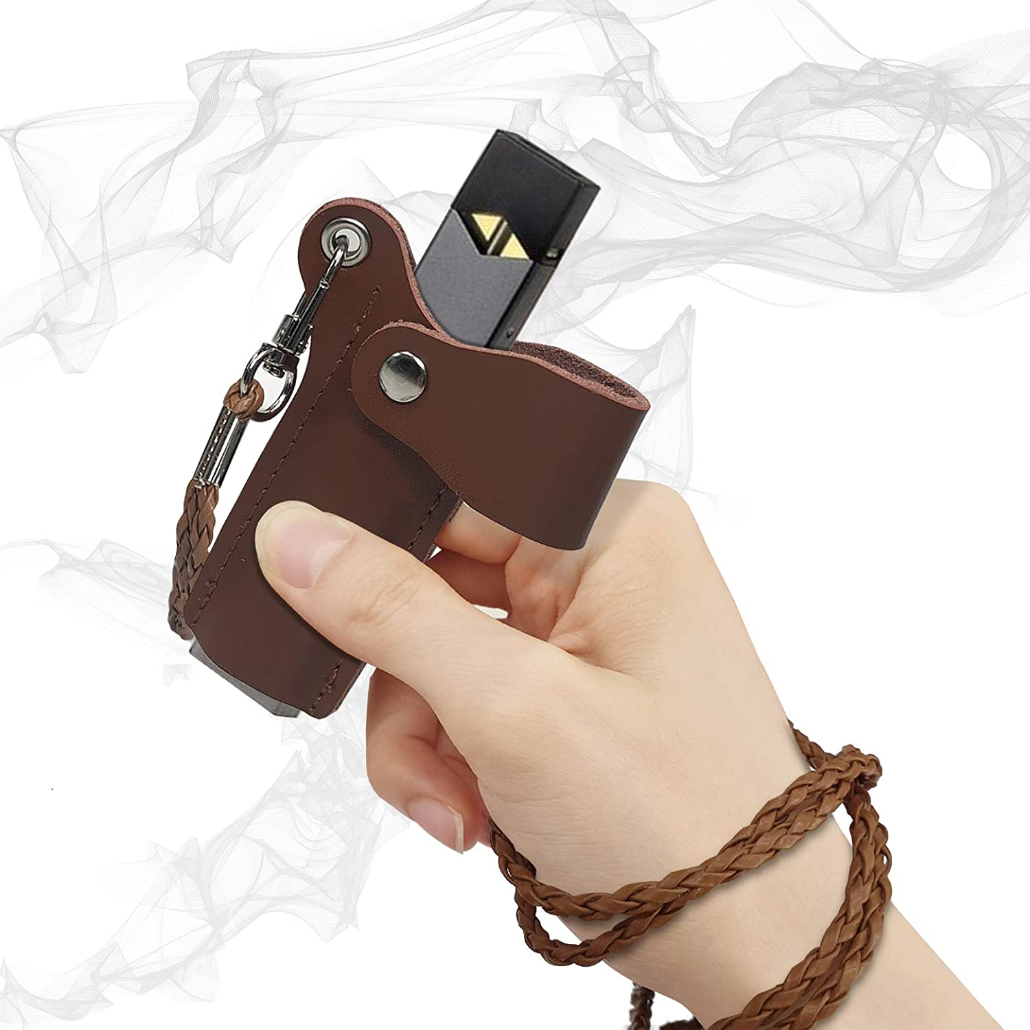2pack Leather Lanyard Necklace Holder Case Cover Anti-Loss Pouch Cap for JUUL Black//Brown