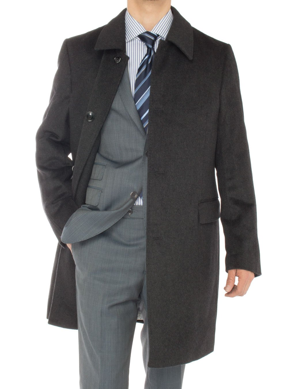 Luciano Natazzi Men's Cashmere Topcoat Classic Knee Length Trench Coat Overcoat (48 US - 58 EU, Charcoal Gray)