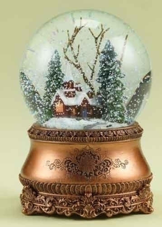Vintage Christmas Snow Globes.6 Musical Vintage Style Church Christmas Snow Globe