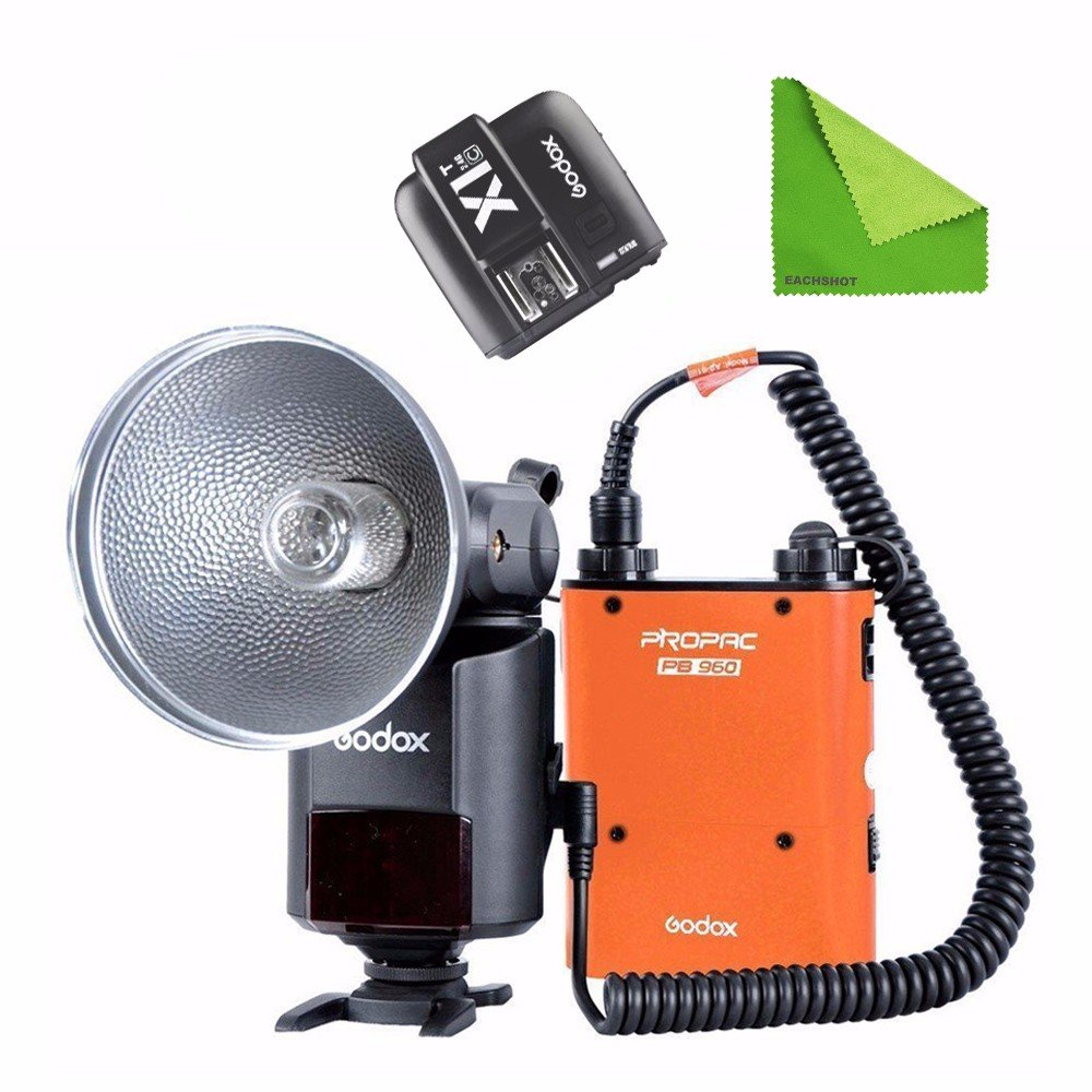 EACHSHOT Godox AD360II-C 360W GN80 E-TTL Flash Speedlite Built-in 2.4G X Wireless System + XITC With EACHSHOT Cleaning Cloth (Orange) by EACHSHOT