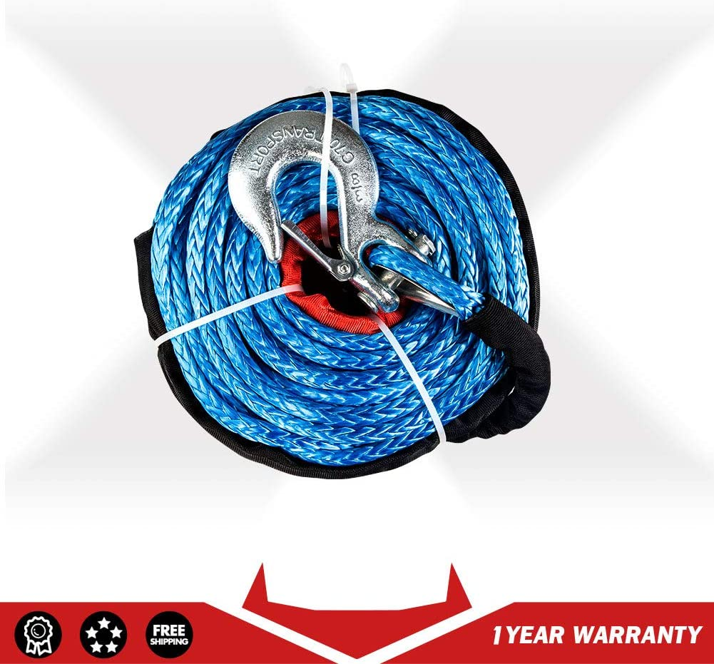 X-BULL SK75 3//8 x 100ft Dyneema Synthetic Winch Rope with Hook Car Tow Recovery Cable?23,809 Lbs,Orange?