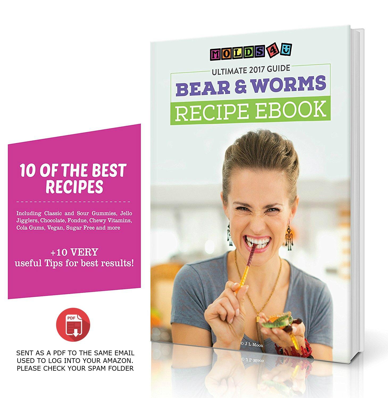 2 Worm moldes y 1 molde de osito de gominola con 3 líquido crema plus última eBook de recetas y 1 año de garantía. Premium Libre de BPA silicona para ...