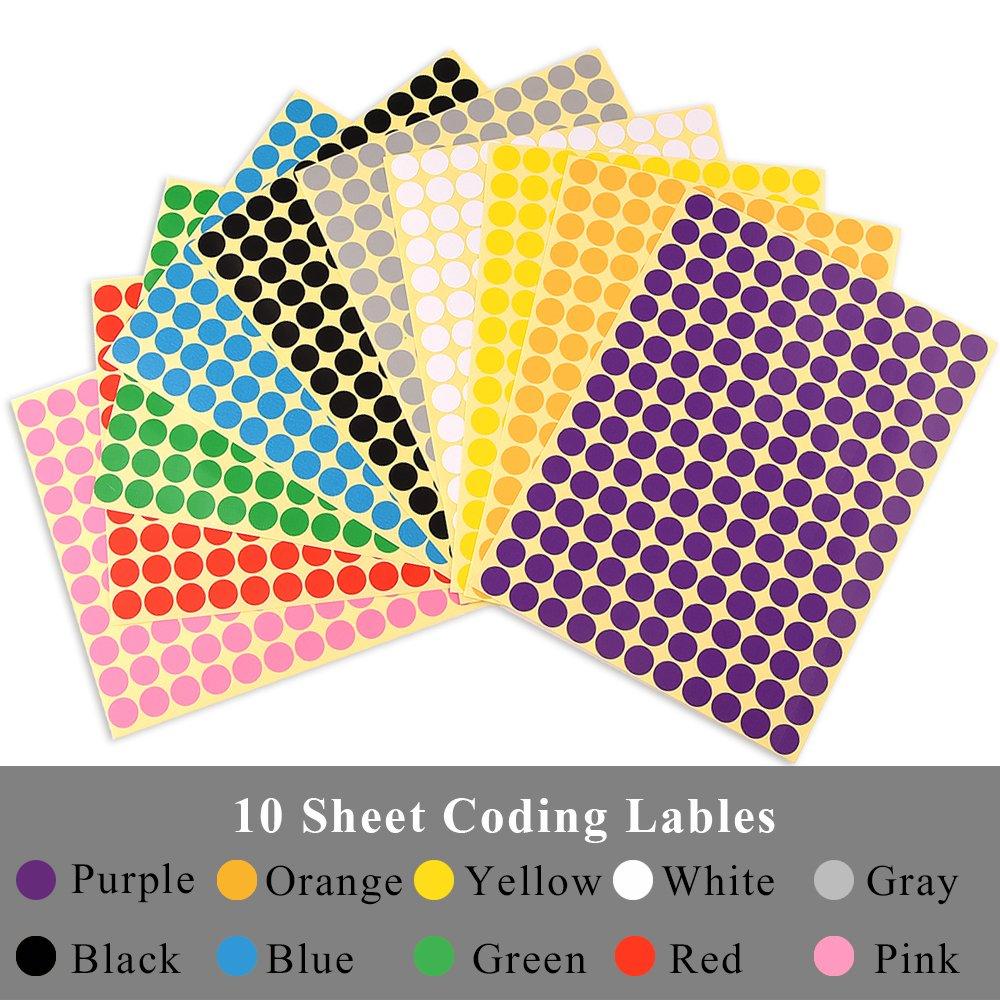 KUUQA 10 feuilles Point de codage autoadh/ésif Autocollants d/étiquettes de carte Codage des /étiquettes 10mm Round Combinaison de 10 couleurs 1650 points