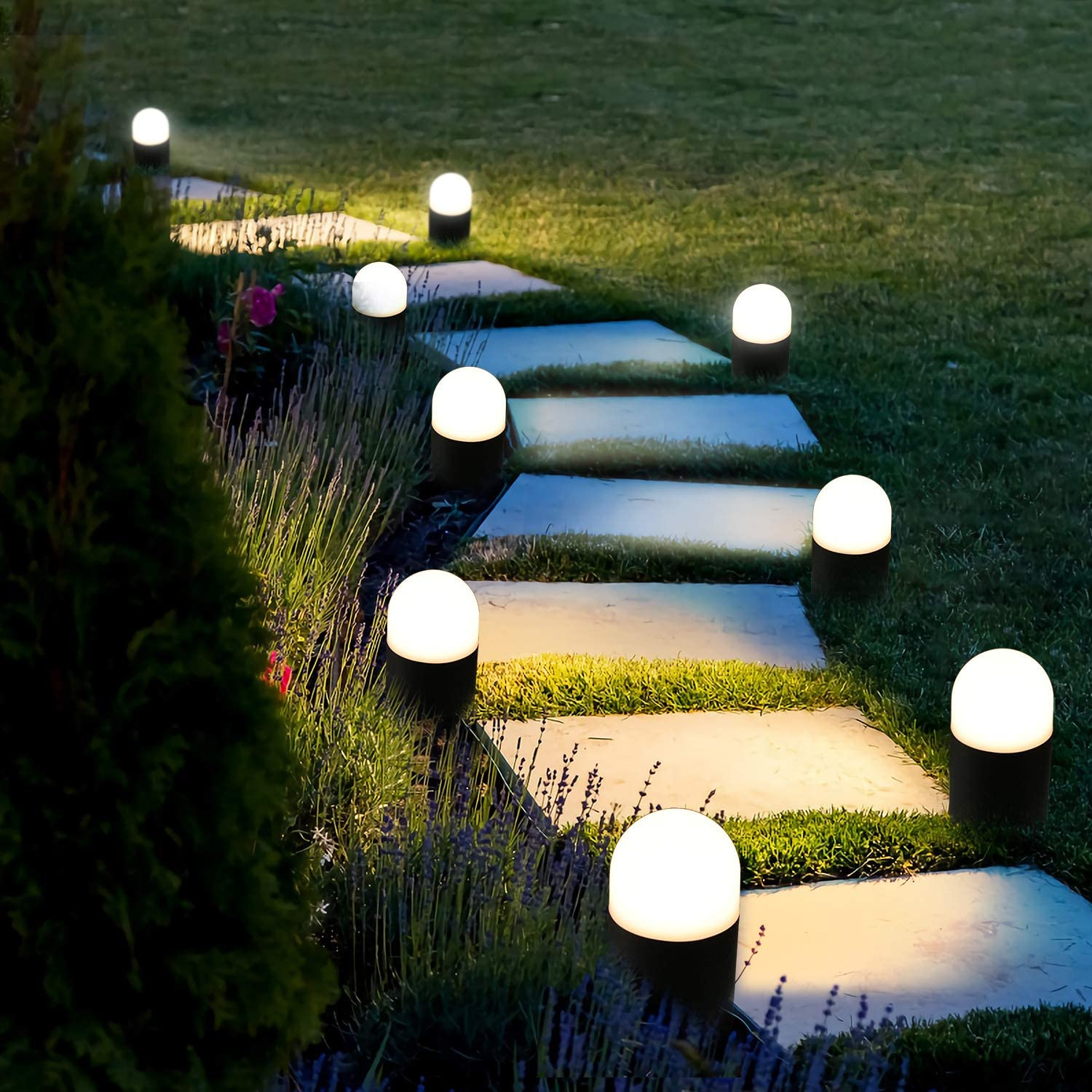 Beezok Outdoor Landscape Path Lights Low Voltage 4 Pack Led Round Bollard Small Garden Lighting Fixture Ip65 Paradise Cast Aluminum Led Walkway Light For Pathway Yard Lawn Driveway Warm White Lamp