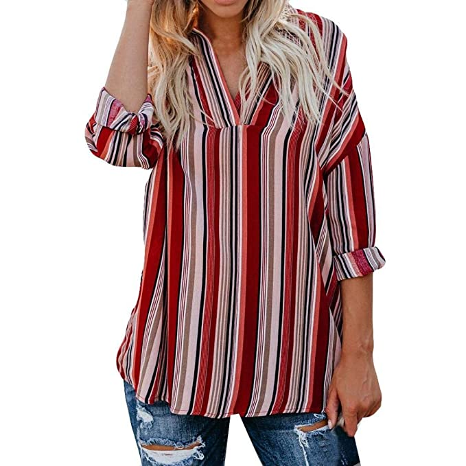 UK Womens Casual Stripe Long Sleeve Loose Blouse Tops V-neck Button-up Shirts