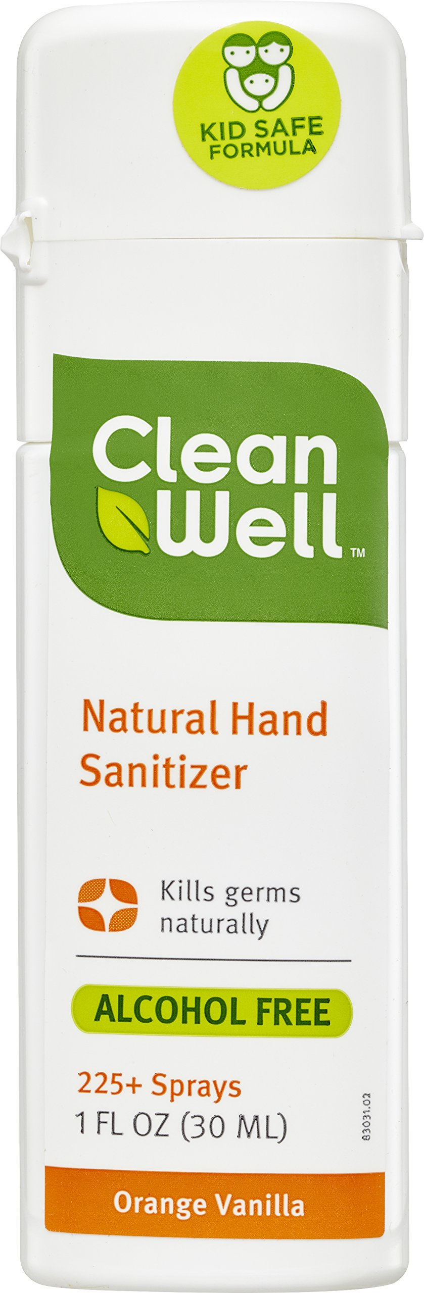 CleanWell® Botanical Hand Sanitizer Spray - Orange Vanilla Scent, 1 Ounce - travel size, plant-based, botanical, alcohol-free, kids friendly, kills germs botanically