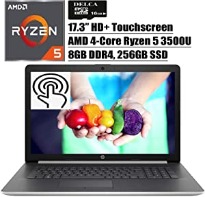 "HP 17 2020 Newest Premium Laptop Computer I 17.3"" HD+ Touchscreen I AMD Quad-Core Ryzen 5 3500U (>i7-7500U) I 8GB DDR4 256GB SSD I WiFi HDMI Backlit KB DVD Win 10 + Delca 16GB Micro SD Card"