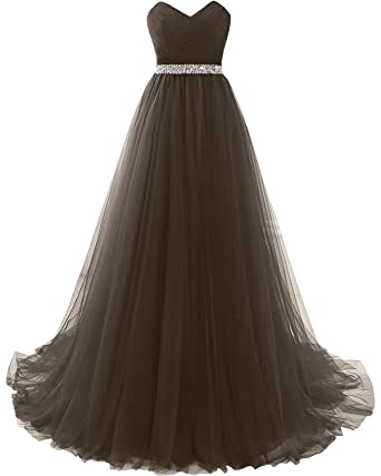 Sunvary Elegant Prom Gown Empire Sweetheart Beaded Waist Wedding Party Dress Tulle Size 2- Brown1