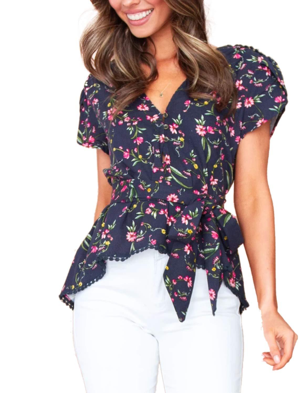 Women's Flora Print Top Wrap Tie Waisted V Neck Short Sleeve Blouse Shirt