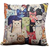i-BOSOM 猫家族 クッションカバー 枕カバー ピローケース インテリア 45×45cm (猫家族)