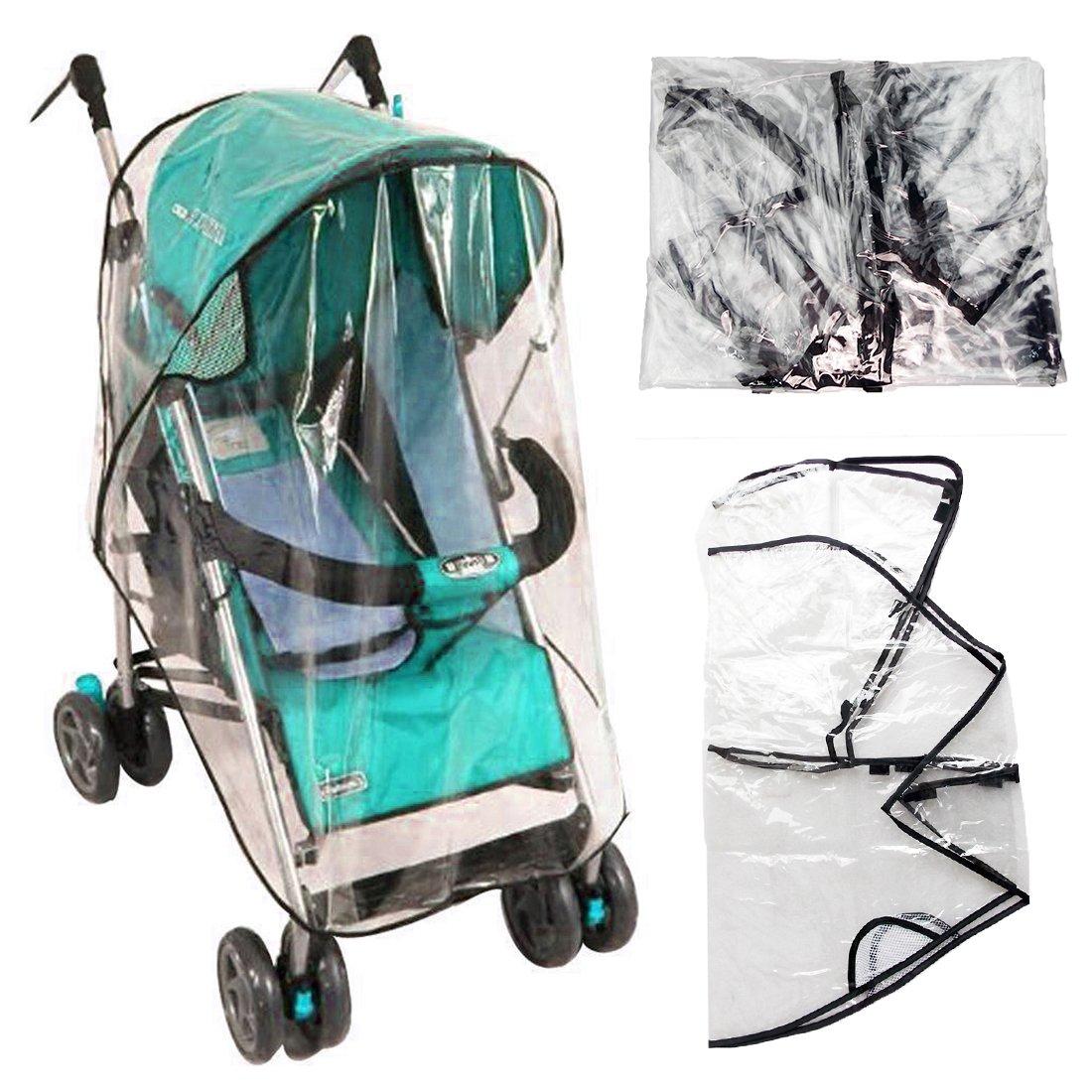 JJPRIME - Universal Clear Buggy Pram Pushchair Stroller Transparent Rain Wind Cover Baby Toddler Travel Shopping Park (77 x 47 x 57cm)