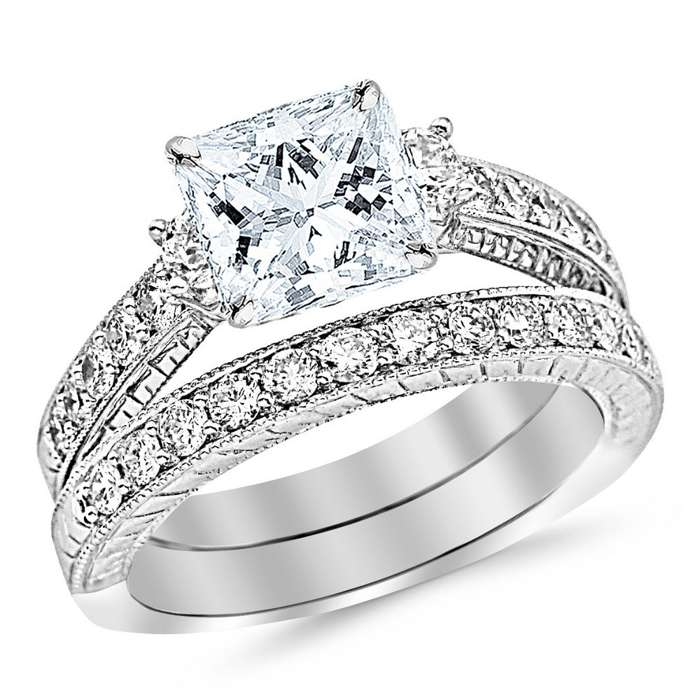 1.53 Cttw 14K White Gold Princess Cut Three Stone Vintage With Milgrain & Filigree Bridal Set with Wedding Band & Diamond Engagement Ring with a 0.5 Carat I-J Color SI2-I1 Clarity Center