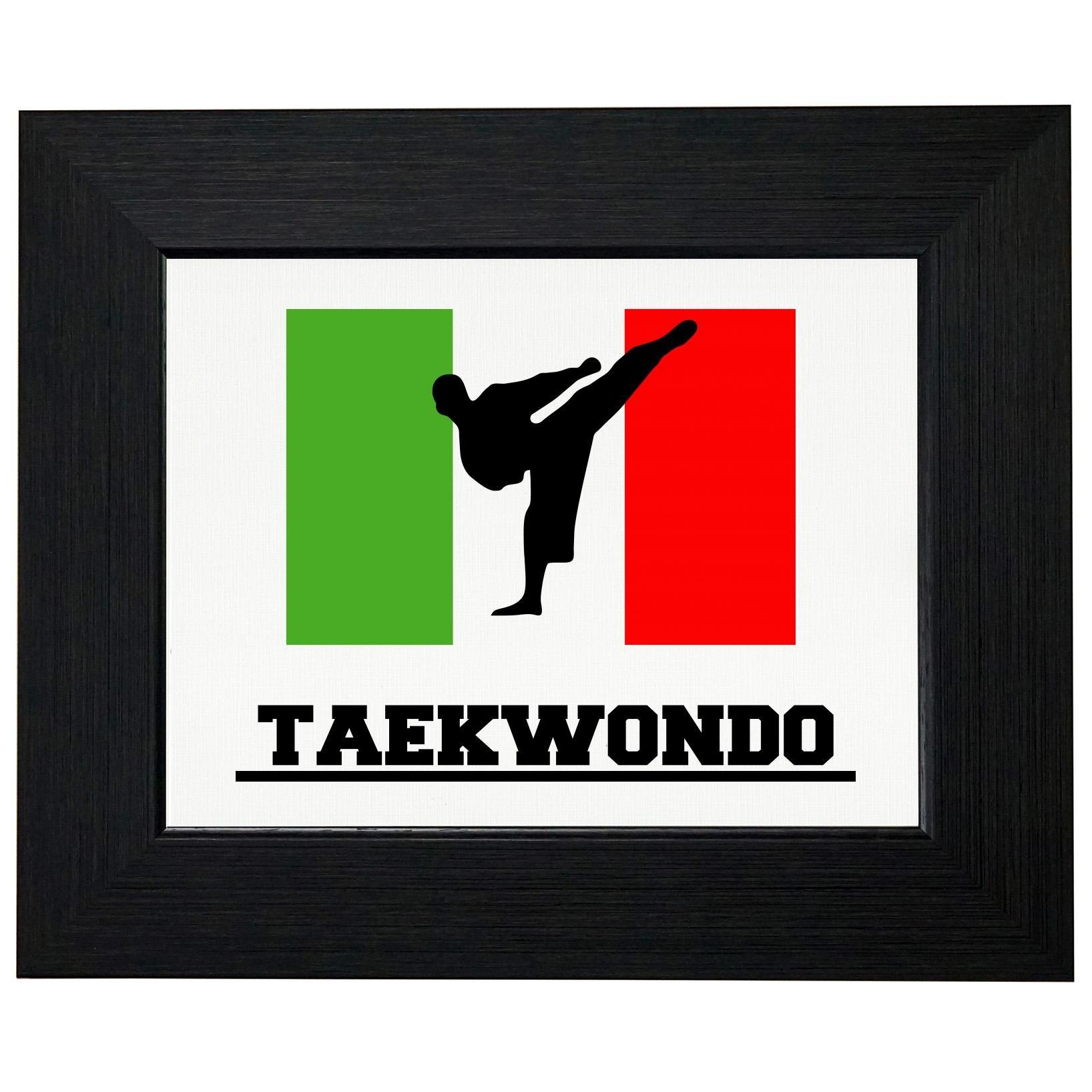 Italy Olympic - Taekwondo - Flag - Silhouette Framed Print Poster Wall or Desk Mount Options