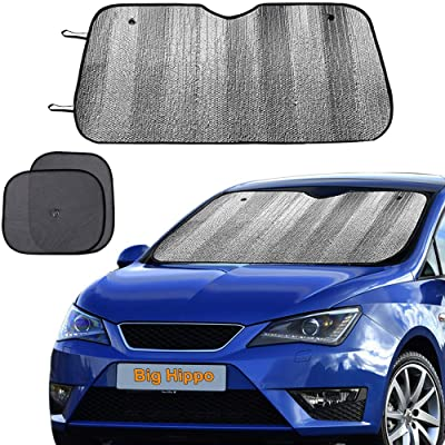 "Big Hippo Windshield Sun Shade, Car Window Shade as Bonus Keep Vehicle Cool Protect Your Car from Sun Heat & Glare Best UV Ray Visor Protector (Size: 55.16""X 27.5""): Automotive"