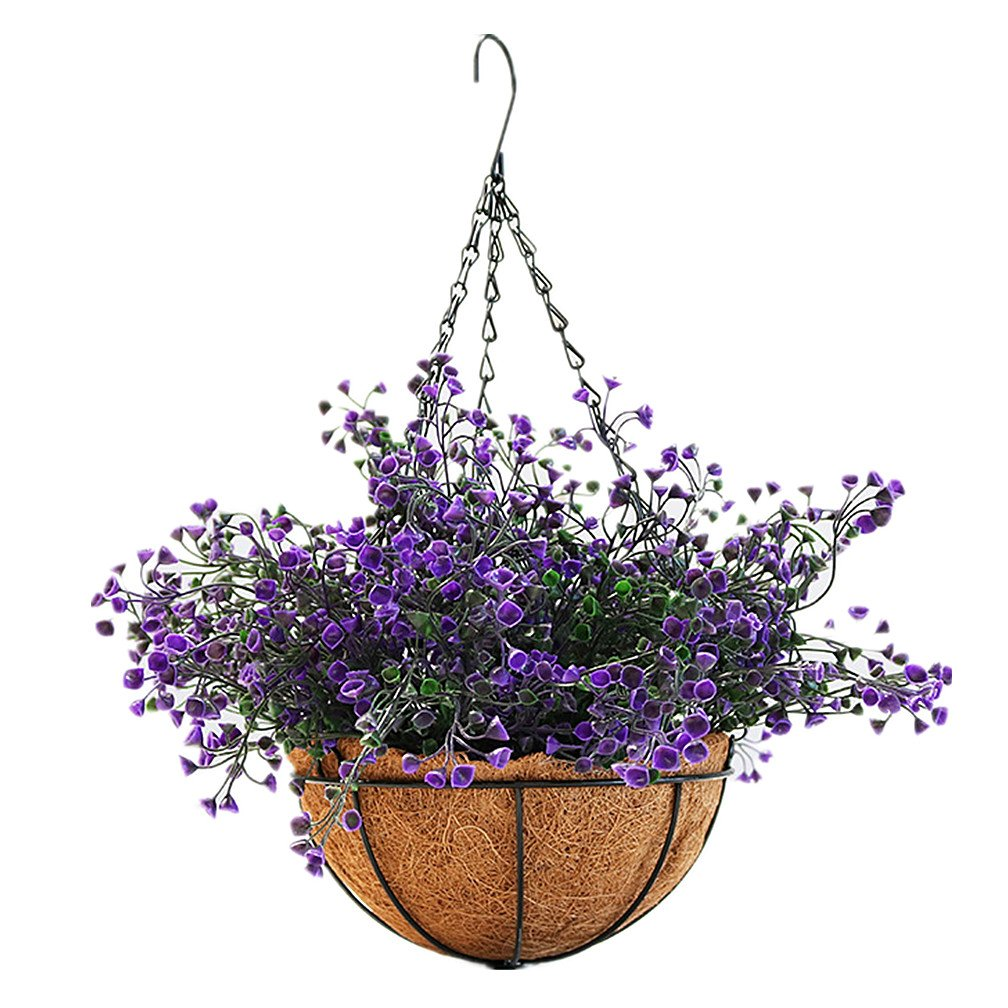 Mynse Lifelike Artificial Plant Indoor Fake Plant Outdoor Decoration Home Shop Garden Hanging Basket with Chain Flowerpot (Purple), Big Basket