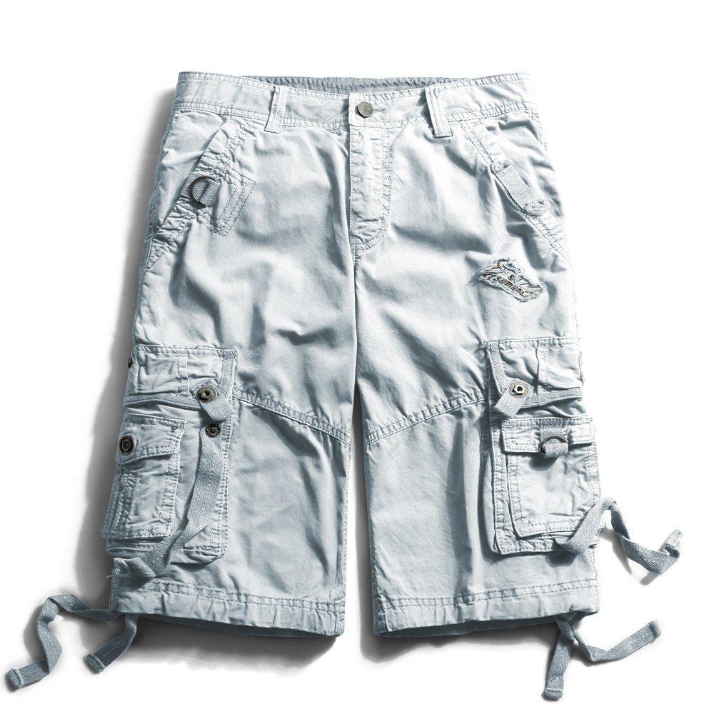 OCHENTA Men's Cotton Loose Fit Multi Pocket Cargo Shorts #3233 Grey 31