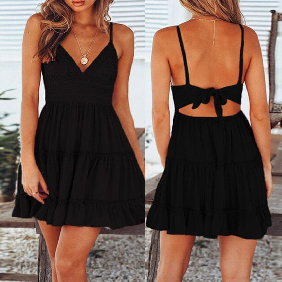 DAYLIN Women Fashion Summer Backless Mini White Evening Party Beach Lace Dress Sundress: Amazon.co.uk: Clothing