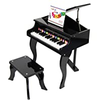 ts-ideen Children Grand Piano in Black with lifting Top 30 Piano Keys with Piano Bench