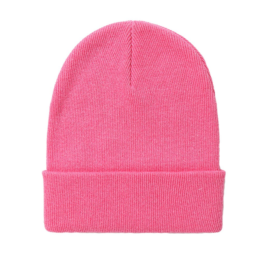 Beanie Hat Simple Kid Baby Girls Boys Autumn Winter Flanging Ski Knitted Ear Cap