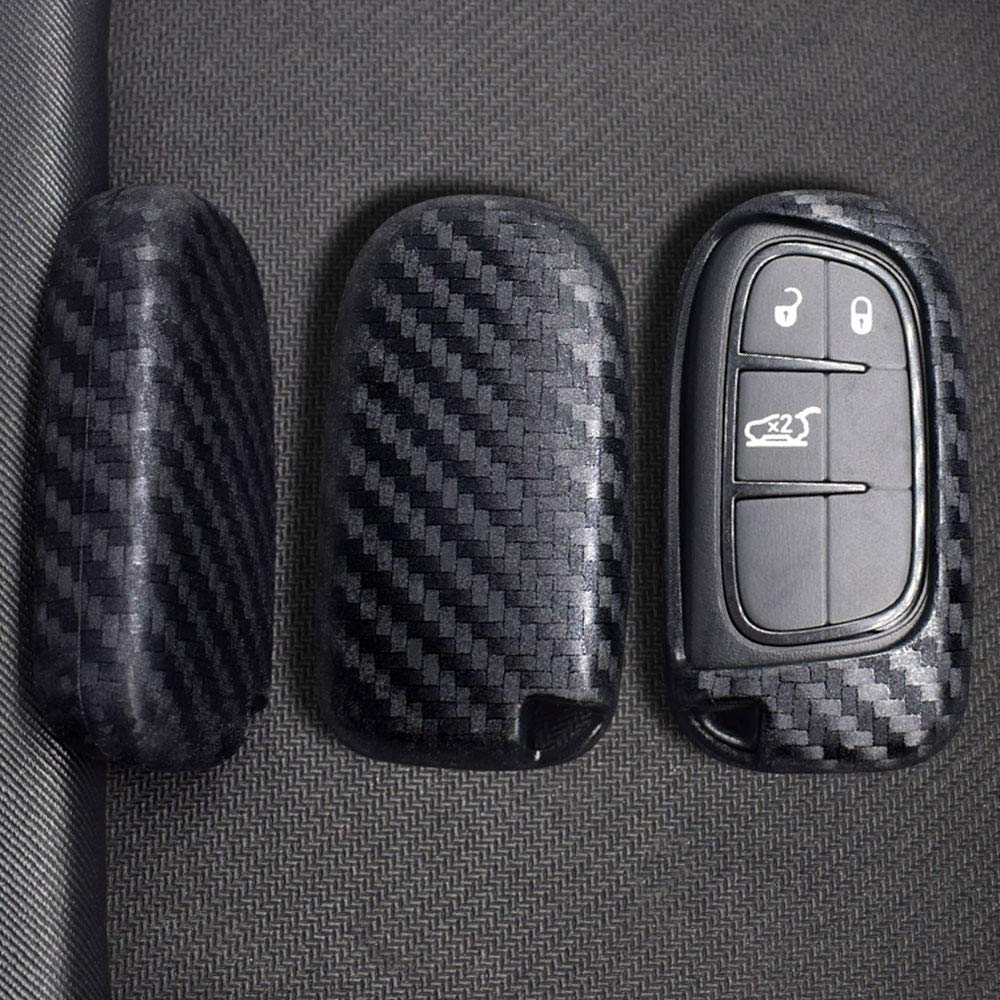 Ceyes Carbon Fiber Texture Protective Key Cover Auto Smart Key Cover Car Remote Key Fob Case for Dodge Journey Charger Jeep Renegade Grand Chrysler