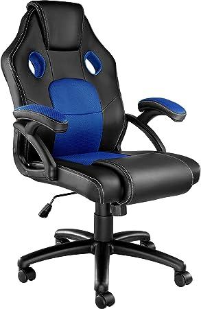 TecTake 800770 Sedia da Ufficio, Poltrona da Gioco, PC Direttore Scrivania, Ergonomica, Altezza Regolabile, 5 Rotelle Doppie, PVC Disponibile in