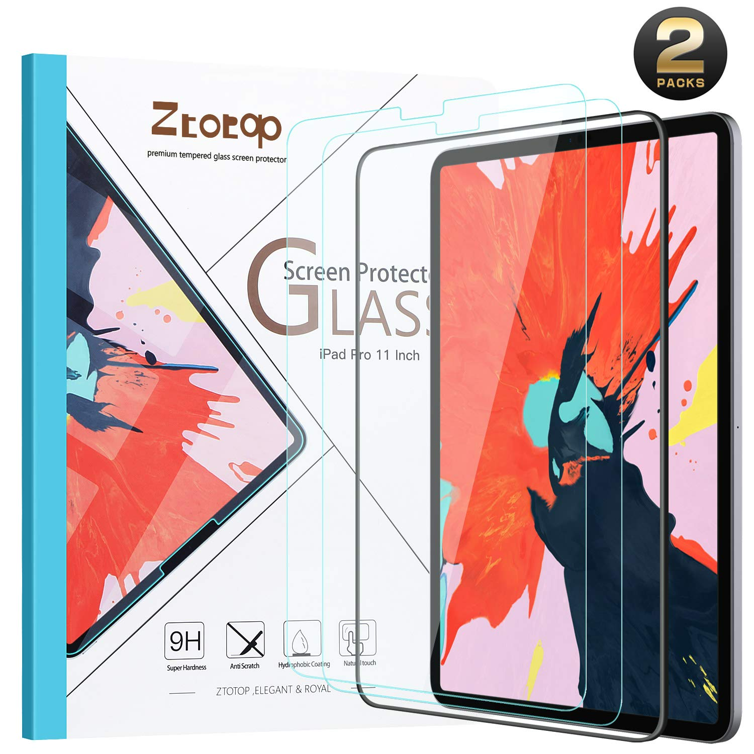 Ztotop Screen Protector for iPad Pro 11-inch 2018 (2 Pack), High Definition/Scratch Resistant/Face ID and Apple Pencil Compatible 9H Tempered Glass Screen Protector for iPad Pro 11 Inch 2018