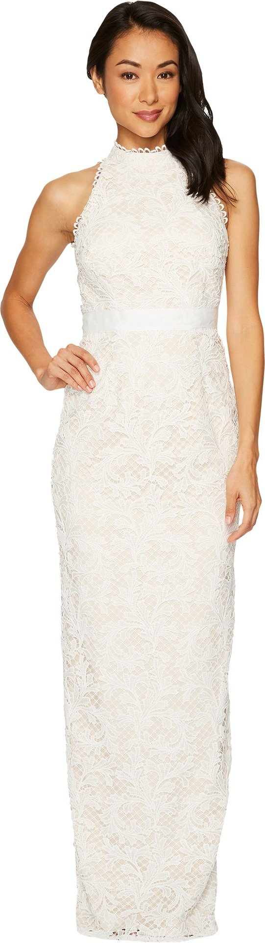 Adrianna Papell Women's Lace Halter Wedding Gown Ivory 8