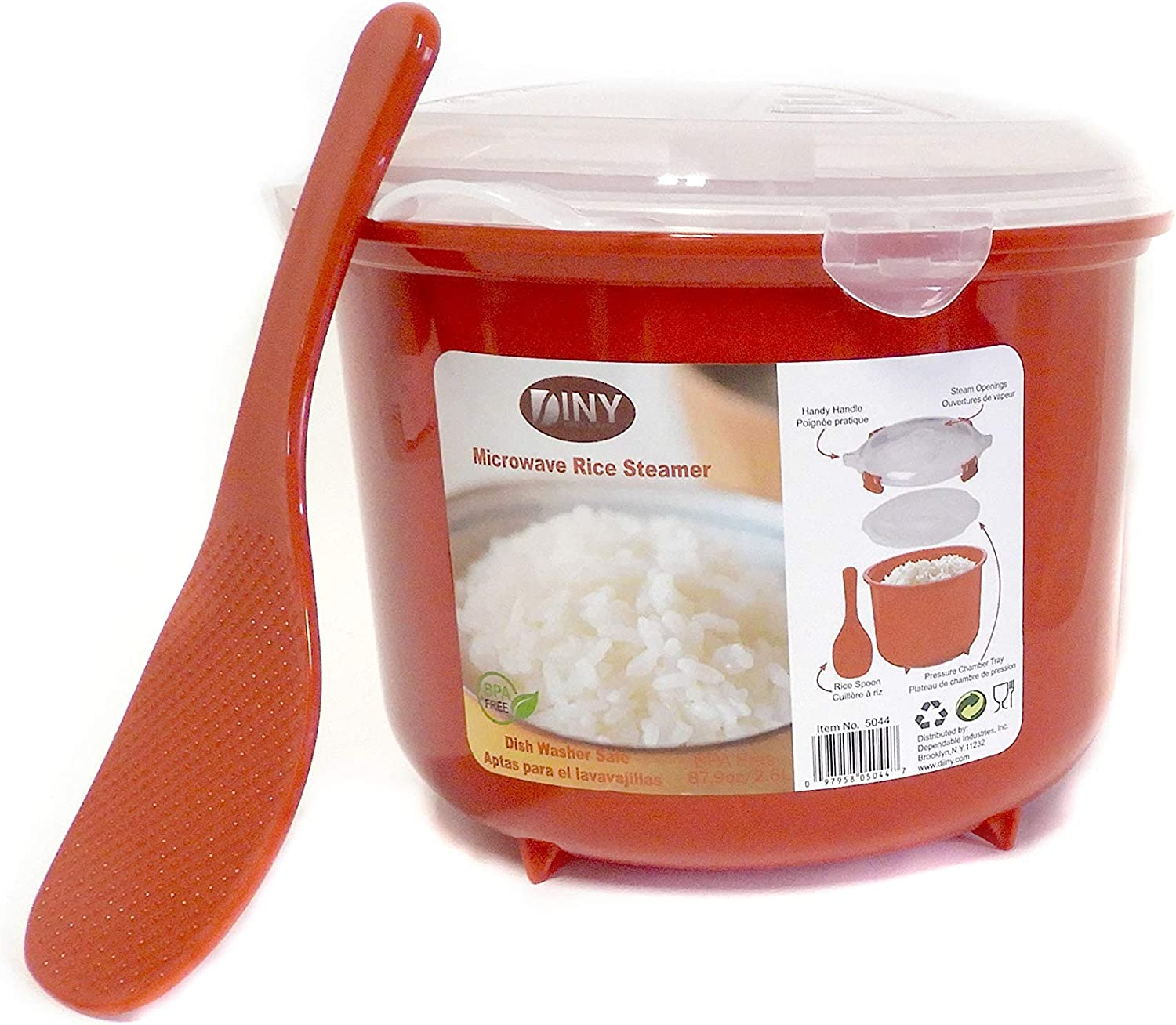 Microwave Rice Steamer Cooker BPA Free 2.6L Red