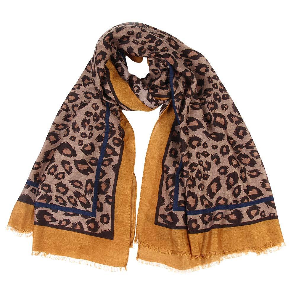 Cinnamou_mujer Leopardo Pañuelo de Seda Elegante Suave Larga Bufanda Estola Chal Delgada del Mantón de Algodón para Mujeres de el 90 * 180cm