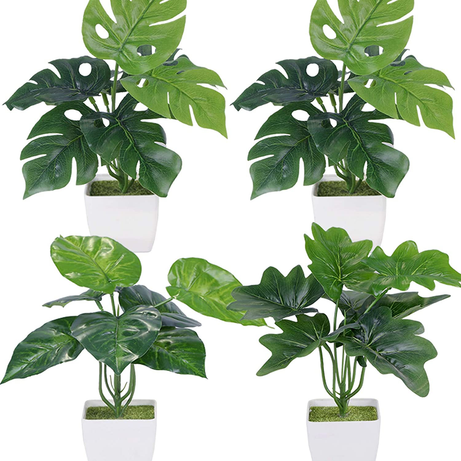 Summer Flower 4 Pack Small Faux Plants Indoor,Fake Plants in Pots,Greenery Artifical Plants for Shelf Desktop,Bedroom Farmhouse Bathroom Home Decorations(Palm Monstera Leaf+Peacock Leaves)