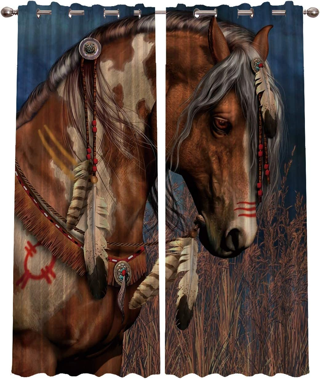 Blackout Curtains for Bedroom Home Decor,Hand Painting Cheval Indien Horse Animal Curtains,Window Treatment Thermal Insulated Grommet Blackout Drapes for Living Room,Set of 2 Panels,80 W By 84 L