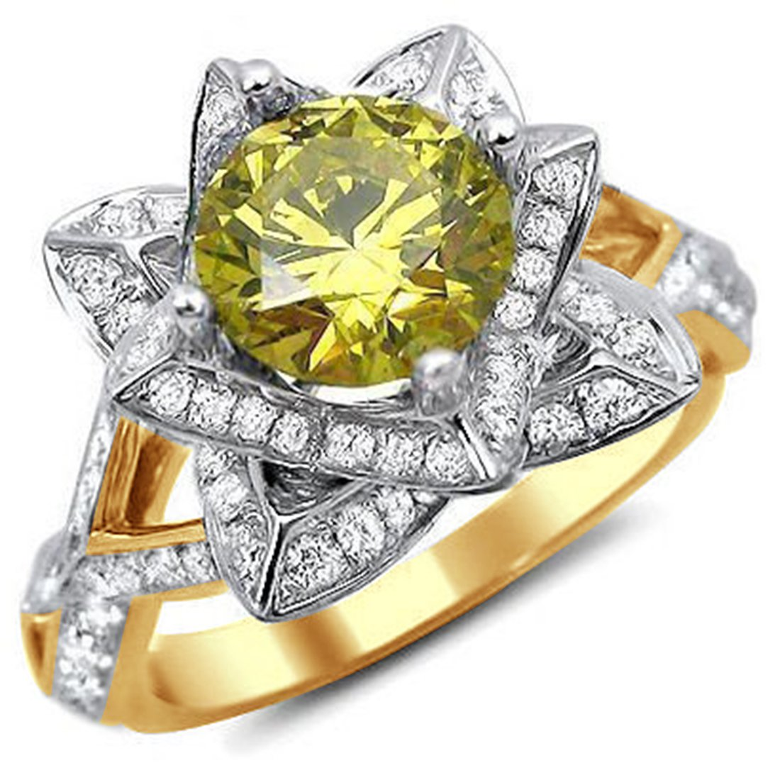 Smjewels 2.00 Ct Yellow Round Sim.Diamond Lotus Flower Engagement Ring 14K Yellow Gold Plated