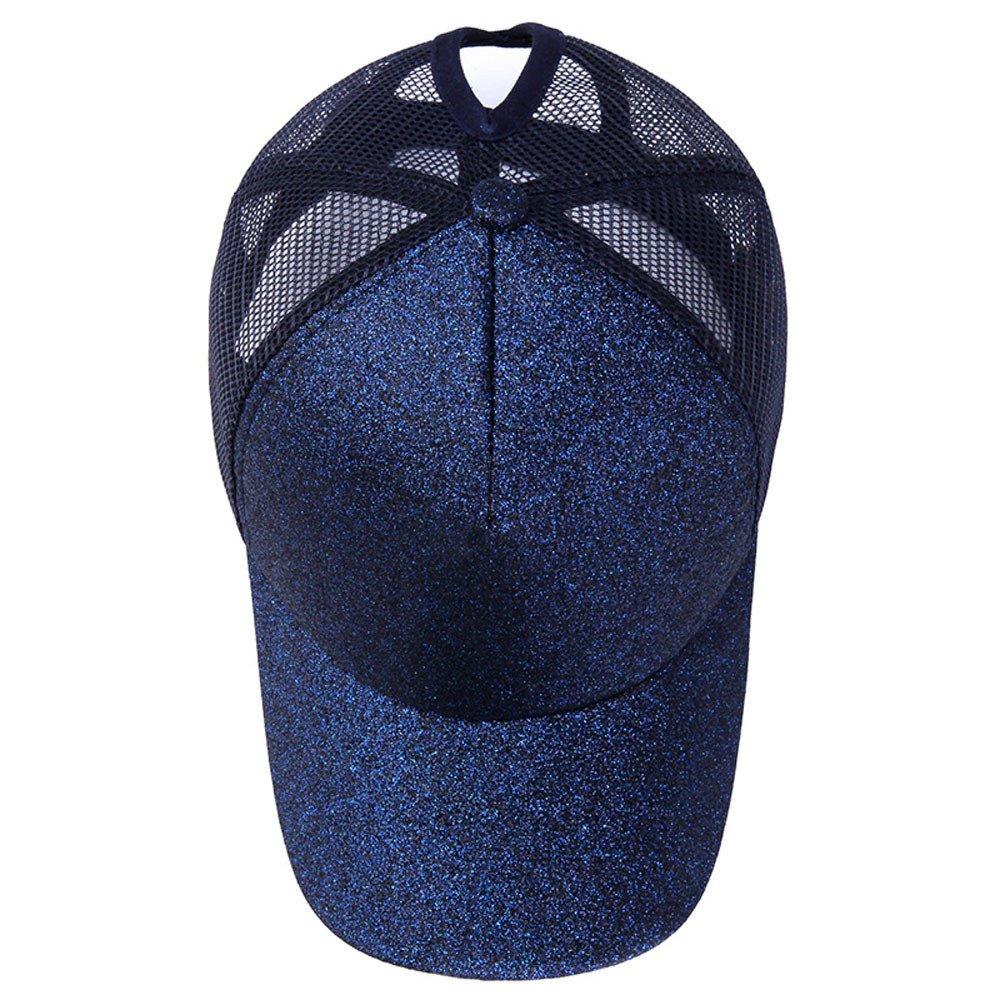wuayi Femme Queue de cheval Casquette de baseball r/églable Paillettes brillant Snapback Chapeau Sun Caps