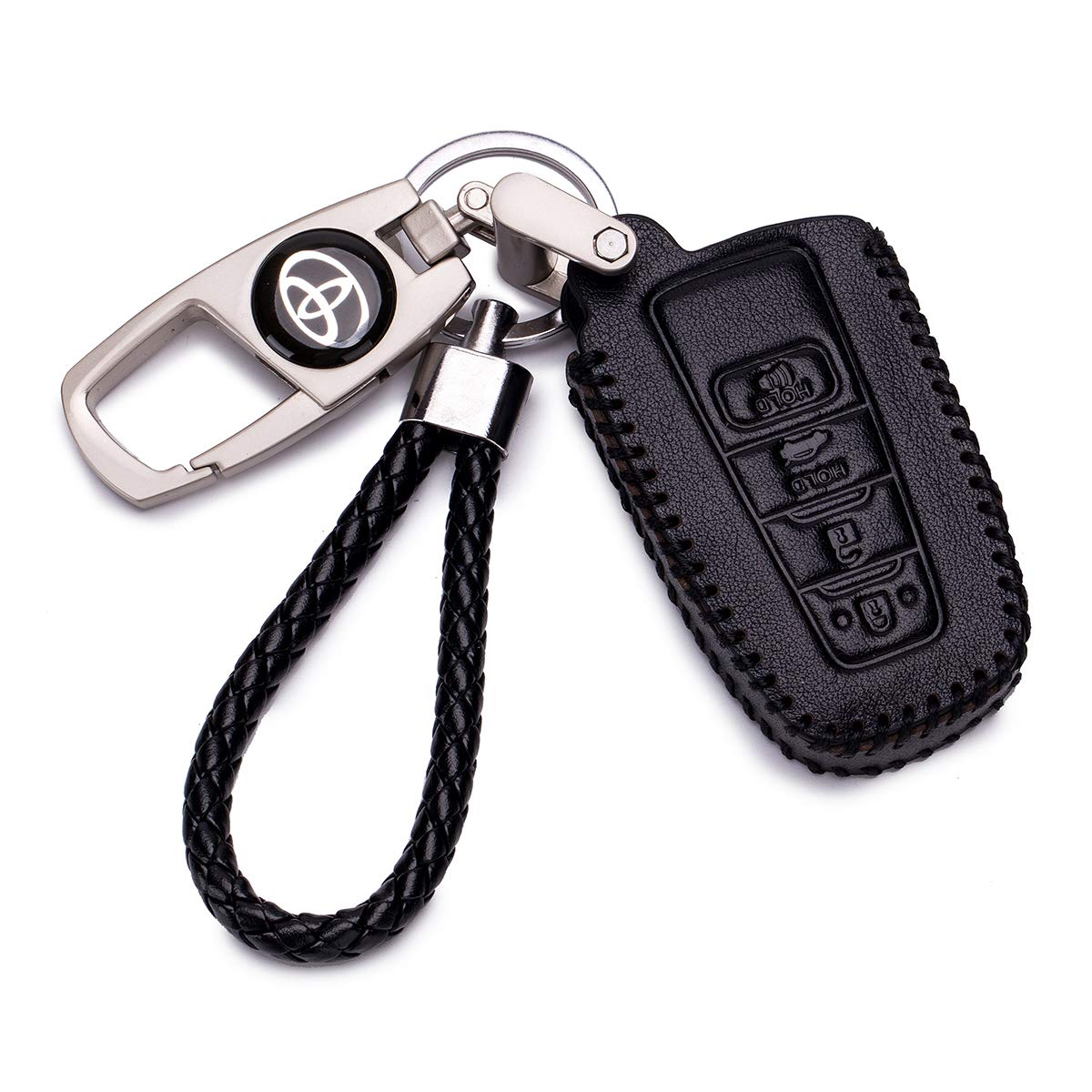 QZS Toyota Key fob Skin Key Cover Remote Case Protector Shell for 2018 Toyota Camry Smart Remote(Toyota-3 Black)