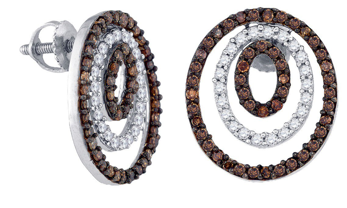 925 Sterling Silver Round Chocolate Brown Diamond Circle Cluster Earrings 1.00 Cttw
