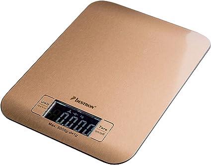 Bestron Copper Collection Báscula de Cocina Digital con Pantalla LCD, Capacidad de carga 5 kg, Precisión de hasta 1 g, Cobre: Amazon.es: Hogar