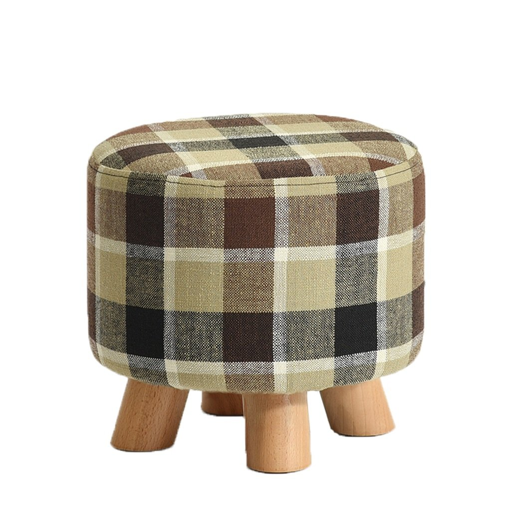 C Solid wood stool fashion sofa stool creative fabric bench home stool (color   A)