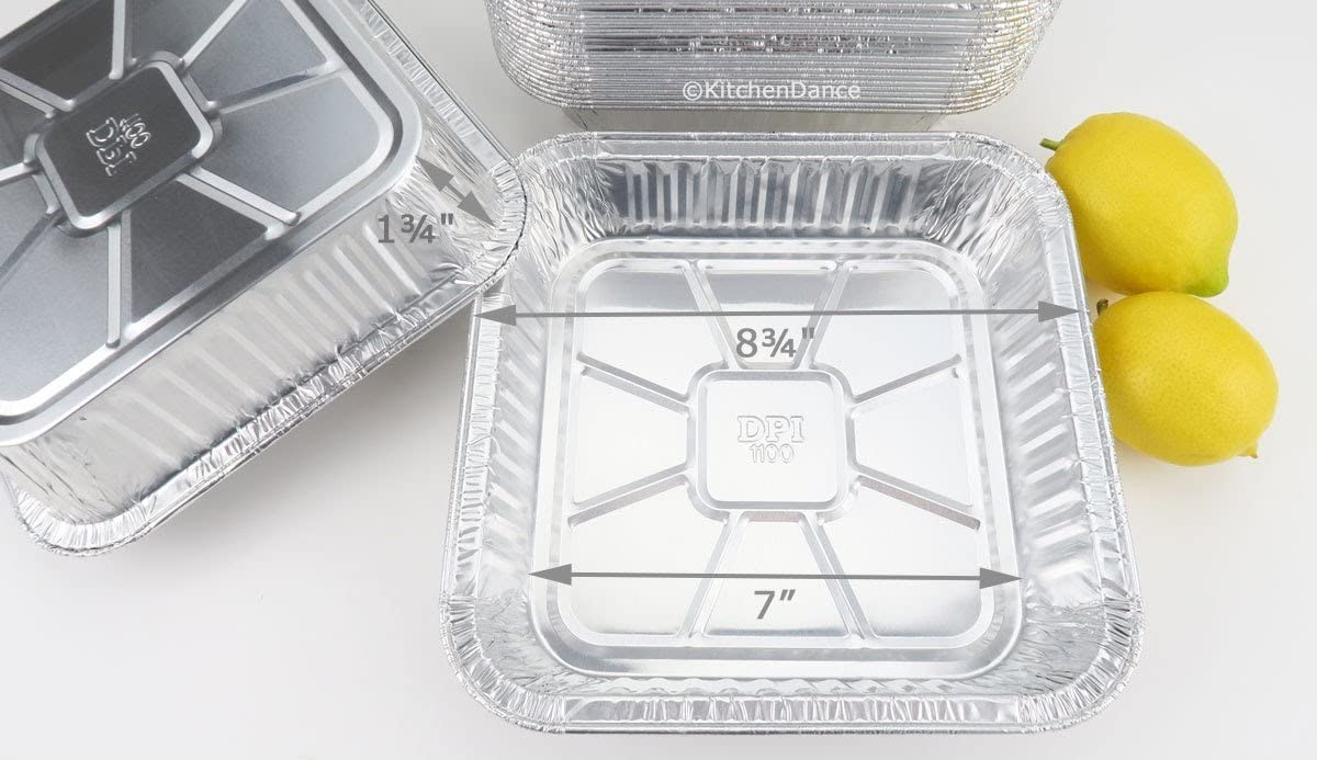 Disposable Aluminum 9 X 9 X 1 3 4 Square Cake Pan 1100NL 25