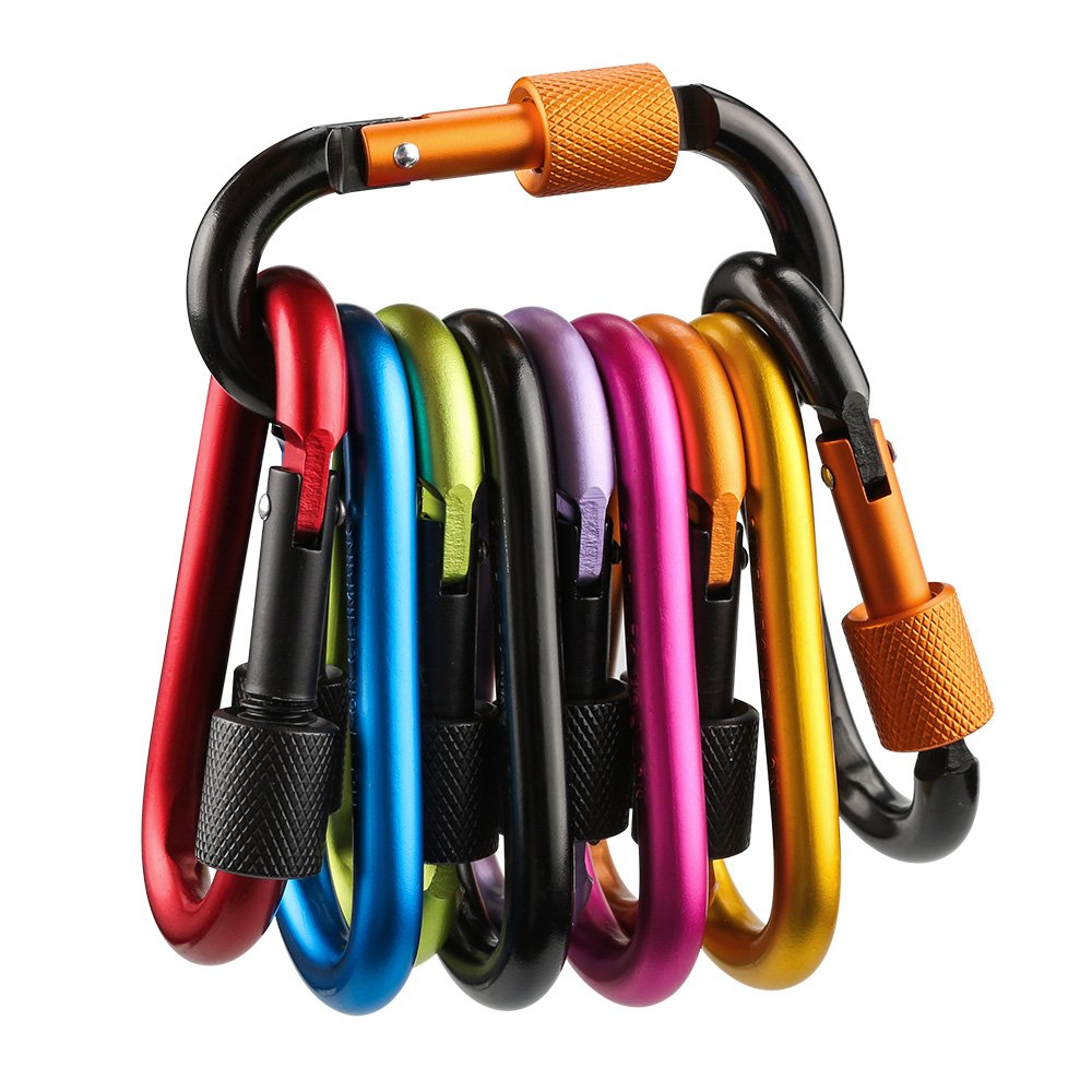 10 PCS Locking Carabiner,Furado Aluminum Alloy Carabiner,D-ring Carabiner Clip Hook for Keychain,Camping Hiking,Traveling