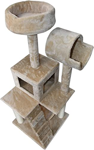 Hiding Cat Tree Tower Condo Furniture Scratch Post Kitty Pet House Play Furniture Sisal Pole Stairs and Hammock from FLA, 49 H, Beige