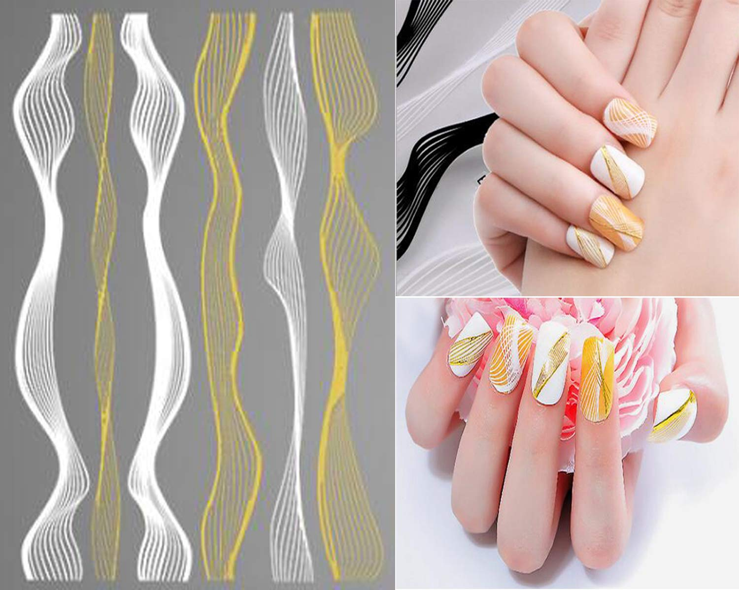 Banamic Gold Black White Nail Stickers Decals 3D Wave Strips Lines Foil  Nail Art Self Adhesive Stickers
