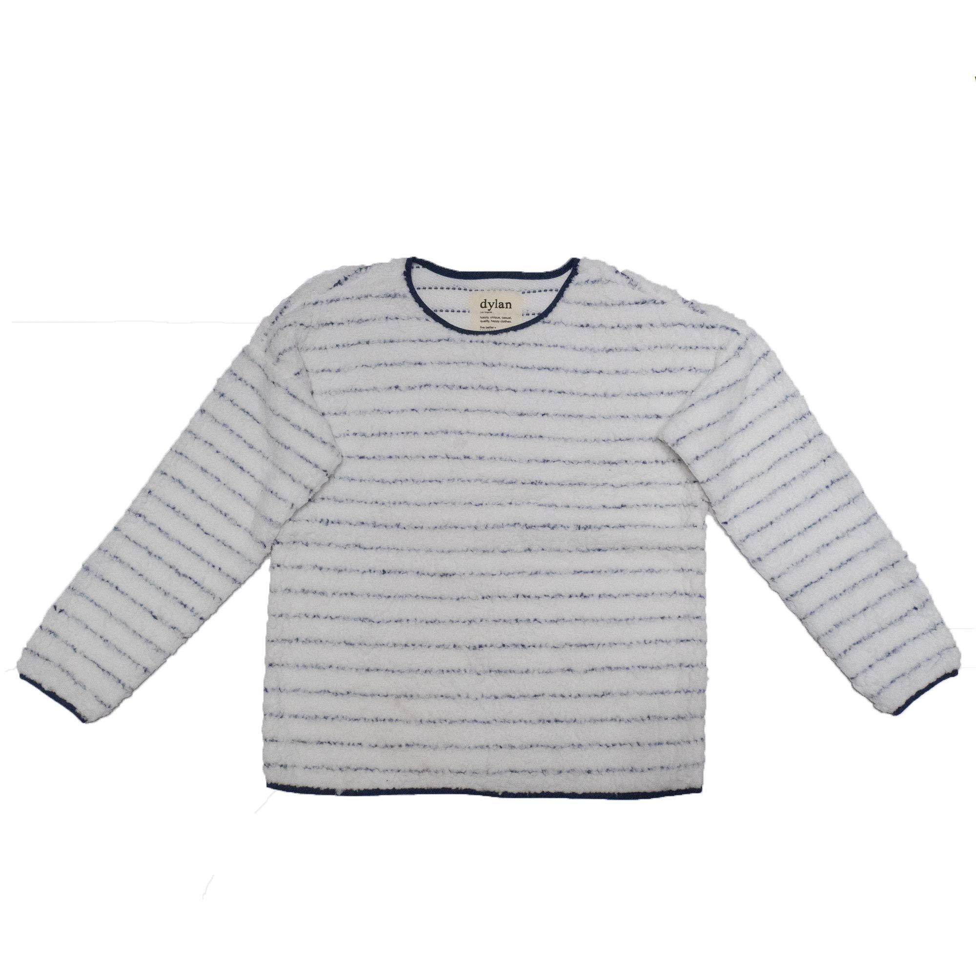 Dylan Women's Classic Stripe Drop Shoulder Crew Long Sleeve Top, White, X-Large