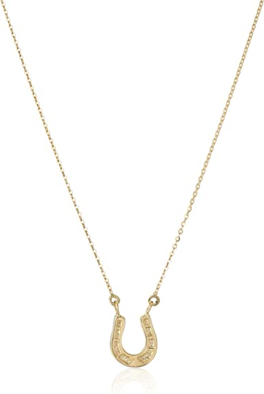 14k White And Yellow Gold Lucky Horsehoe Pendant Charm