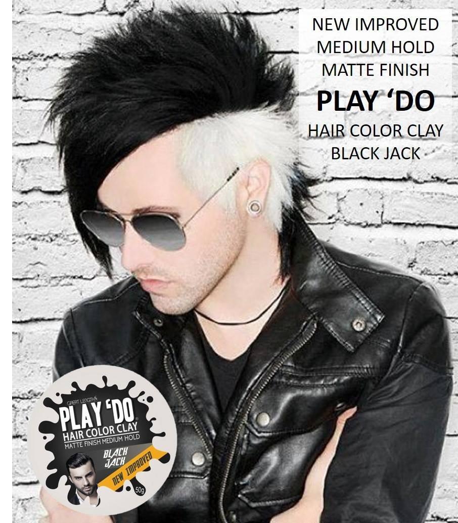 Play 'Do Temporary Hair Color, Hair Wax, Hair Clay, Mens Grooming, Pomade, Black hair dye(1.8 ounces) by Great Lengths (Image #6)