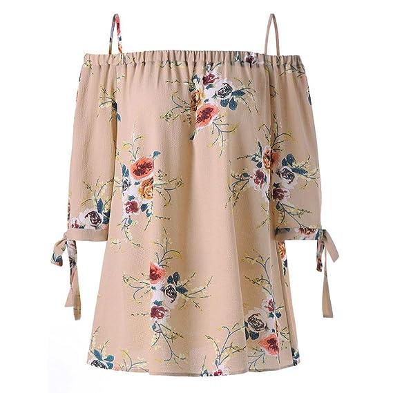 Camisetas para mujeres tallas grandes, XS-5XL, LILICAT® Fashion Womens Blusa con estampado floral en el hombro frio Tops casuales Camis, blusas, ...