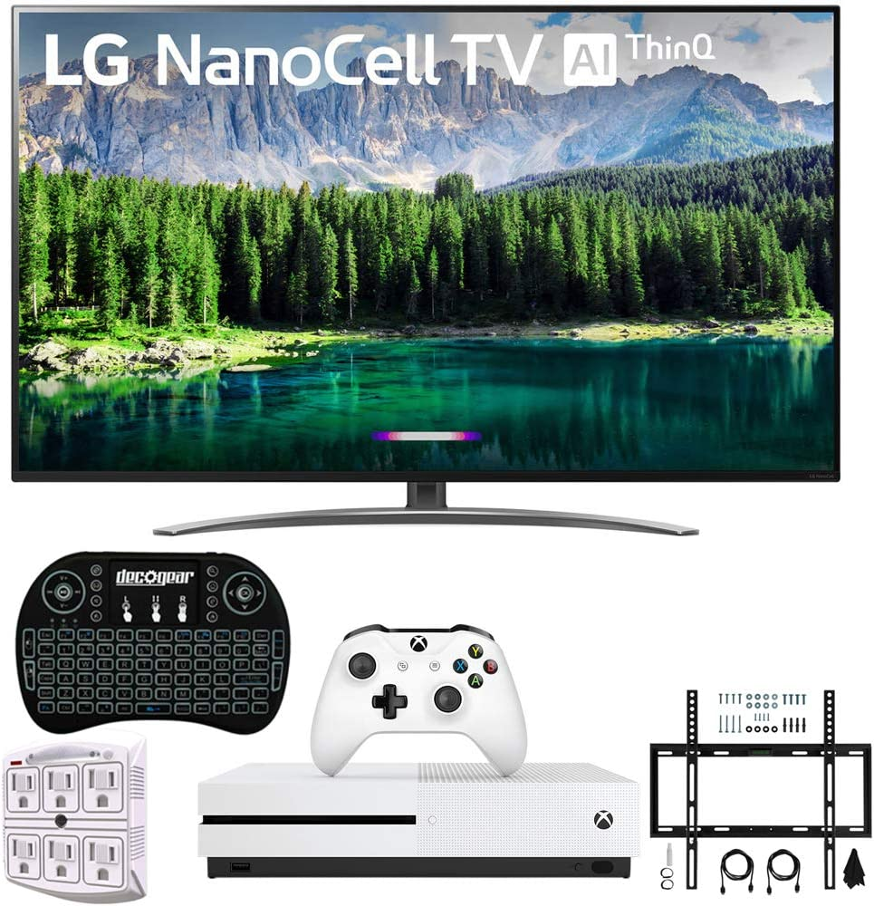 LG 75SM8670PUA 75″ 4K HDR Smart LED IPS TV with AI ThinQ + Xbox One S 1TB, Wireless Backlit Keyboard, Flat Wall Mount Kit & SurgePro 6-Outlet Surge Adapter