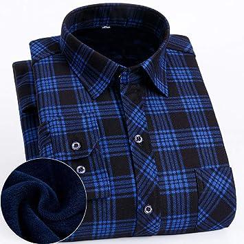 ATLT Hombres Camiseta Manga Larga Camisa Térmica, Forro Polar, Gruesa, Además de Terciopelo, una Camisa a Cuadros de Terciopelo Masculina, Ropa de ...
