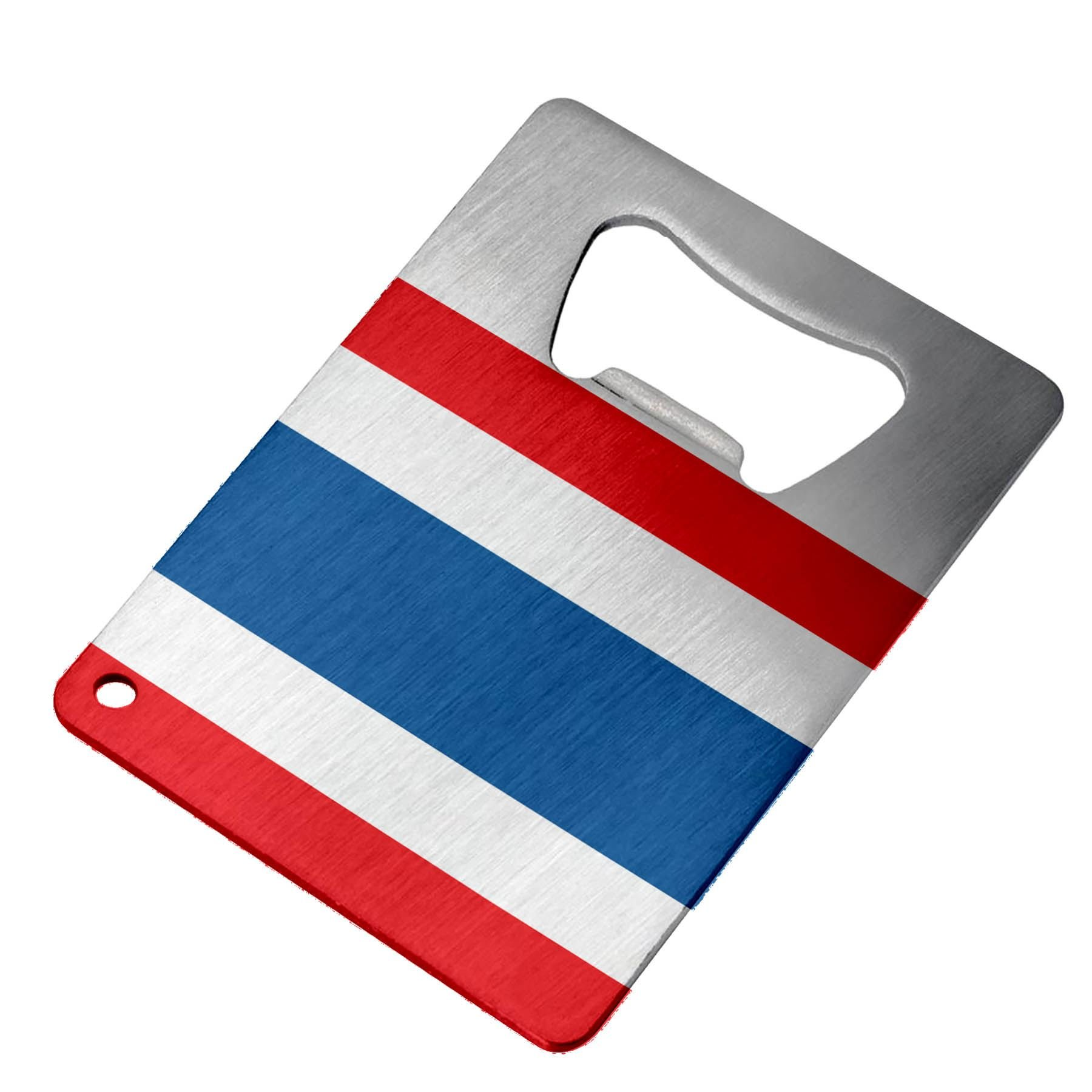 Bottle Opener - Stainless Steel - Fits in wallet - Flag of Thailand (Thai) by ExpressItBest