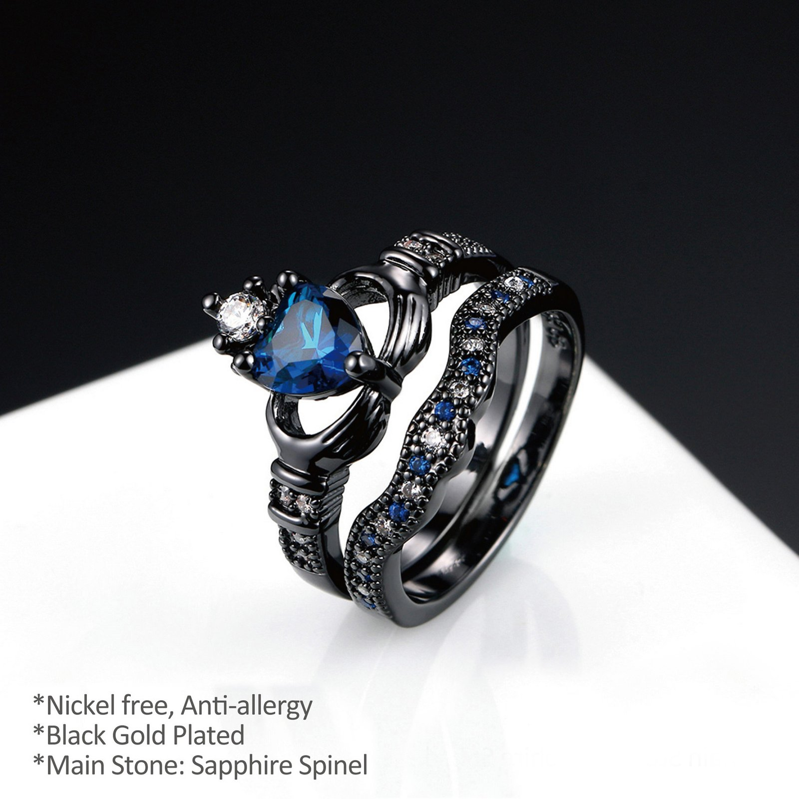 Yoursfs Irish Claddagh Friendship & Love Simulated Sapphire Blue Heart CZ Cubic Zirconia Ring (Black, 7)